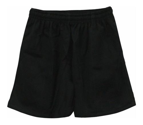 short de rugby webb ellis gabardina negro con bolsillos