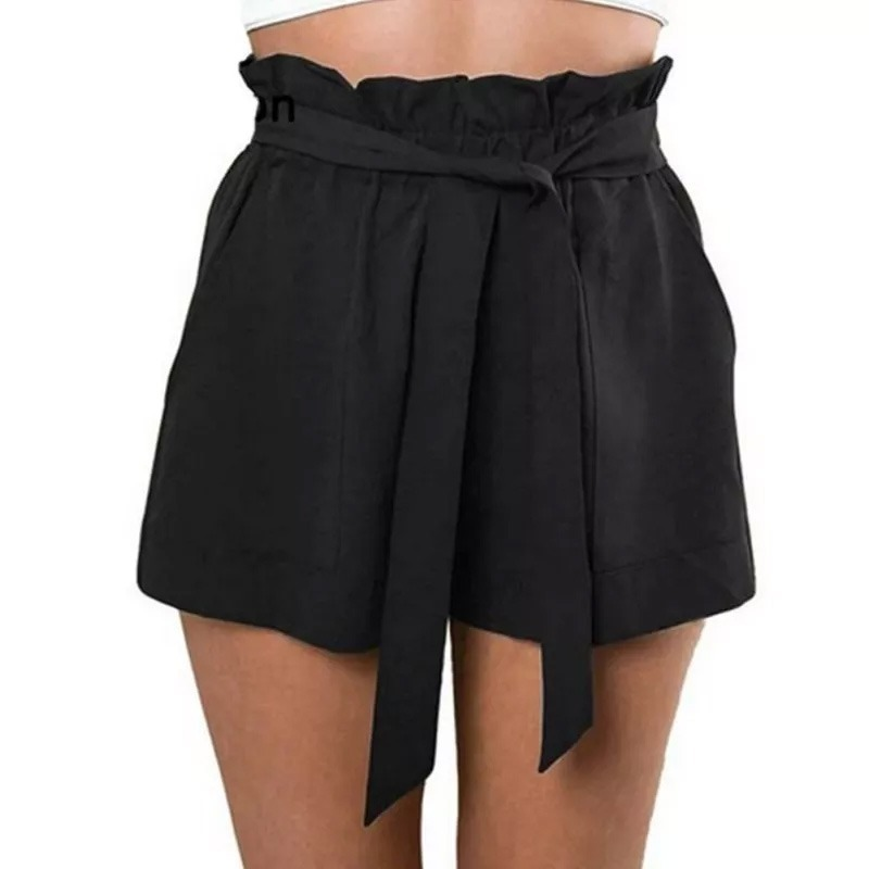 c839da61df013 short de vestir fibrana tiro alto con moño negro tendencia. Cargando zoom.