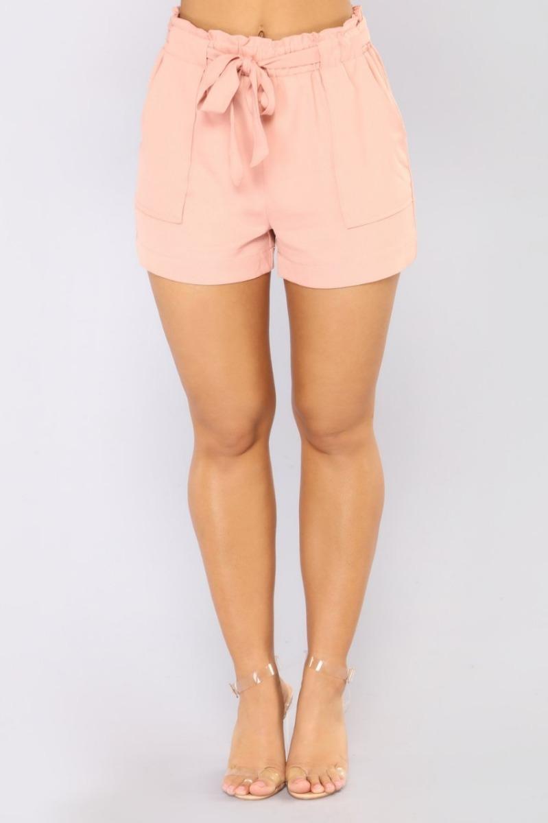 91683c3b8c7fa short de vestir rosa nude tiro alto con moño. Cargando zoom.