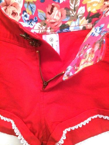 short elastizado gabardina rojo super sexy
