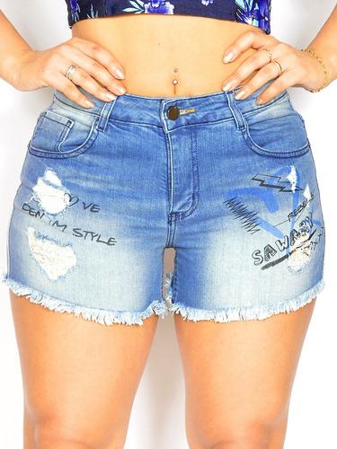 short feminino azul da marca sawary 277 rasgadinho com lycr