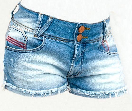 537c5731e Short Feminino Jeans Curto Azul Claro Promoção Fill Sete - R$ 69,90 ...