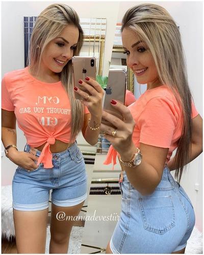 short feminino jeans mom melinda 34 ao 44 moda feminina