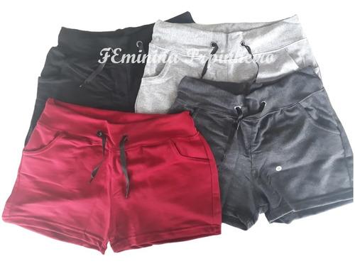short feminino  moletom kit 4 peças bolso e amarra moda