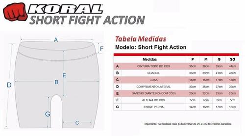 short fight koral action preto cinza