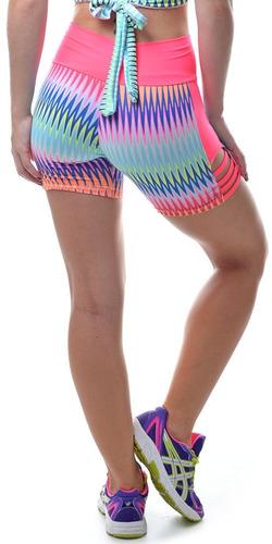short fitness com tiras laterais rosa - up fitwear
