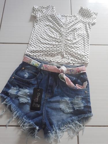 short jeans +cinto com estampas