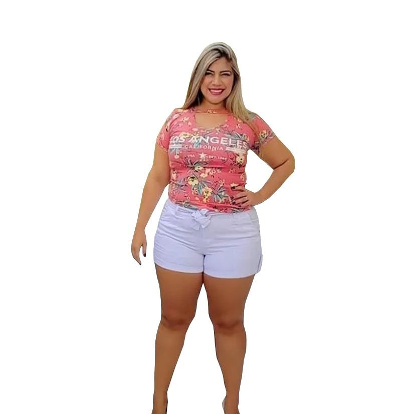 836a8e35a27e9b Short Jeans Clochard Branco Plus Size Com Lycra Colorido