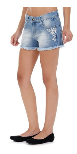 short jeans com bordado sawary