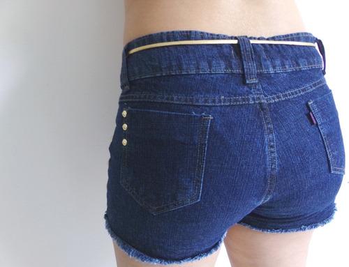 short jeans com cinto  cintura alta belo