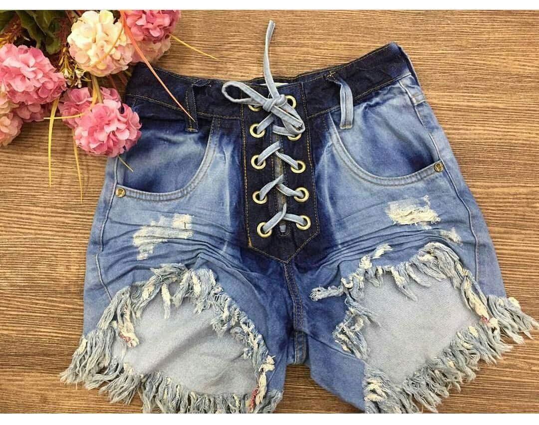 62ffbd320 short jeans cos alto com amarração. Carregando zoom.