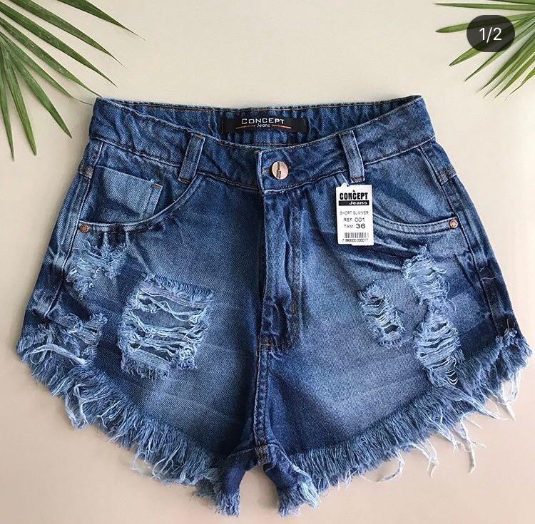 Short Jeans Feminino Destroyed - R  50 8f28a651f7b