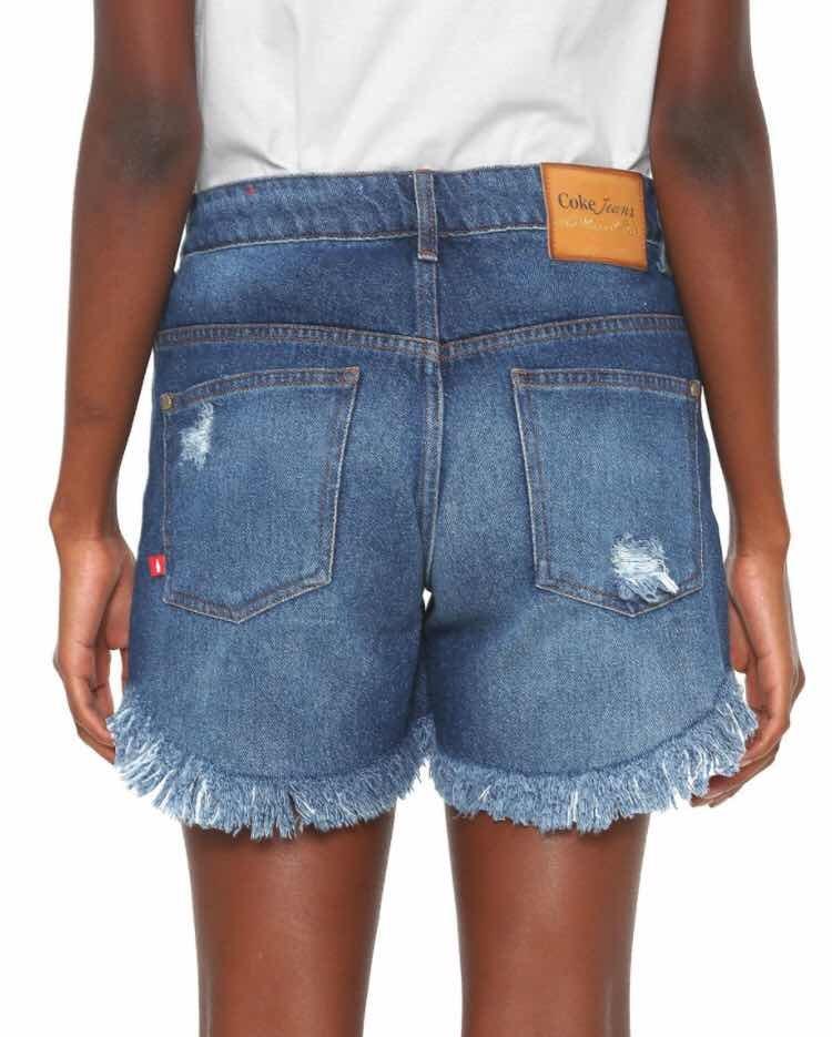 fb186f98c Short Jeans Feminino Coca-cola Jeans Destroyed Azul - R$ 268,00 em ...
