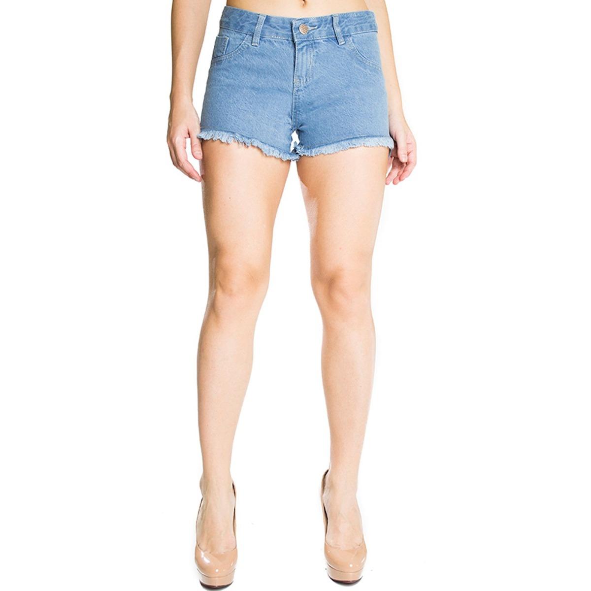 6c8458b91d Short Jeans Feminino Zamany Azul Claro Com Barra Desfiada - R  69