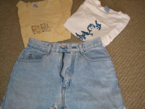 short jeans guess original talla 10 y poleras (2)