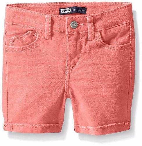 short jeans infantil laranja coração  levis 4 anos