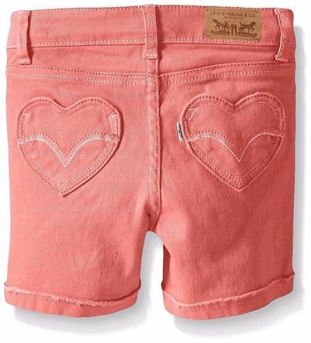short jeans infantil laranja coração  levis original