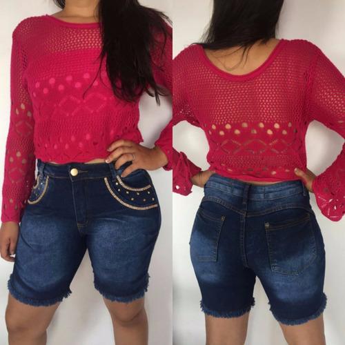 short jeans meia coxa@ detalhes e pedras lycra mcl04 aeio@