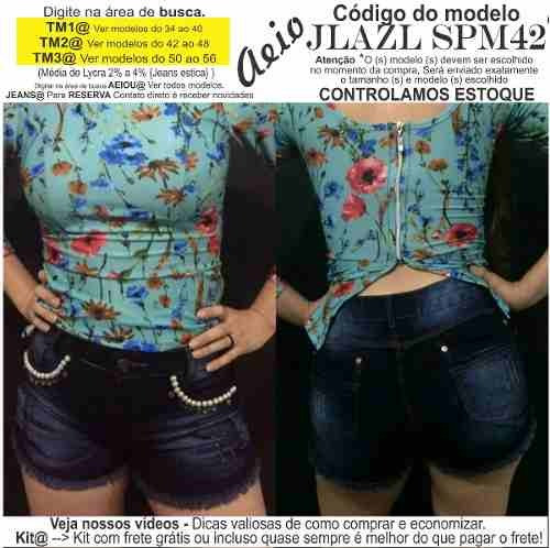e23f84c57a Short Jeans Roupas Femininas Lycra Rasgo Pedras Unli  Shpm37 - R  30 ...