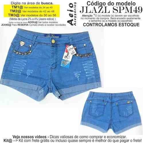 0e4acfd354 Short Jeans Roupas Femininas Lycra Rasgo Pedras Unli  Shpm43 - R  30 ...