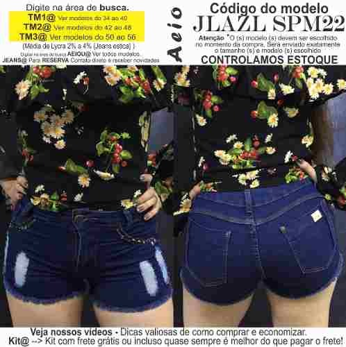 545b5e1f57 Short Jeans Roupas Femininas Lycra Rasgo Pedras Unli  Shpm50 - R  30 ...