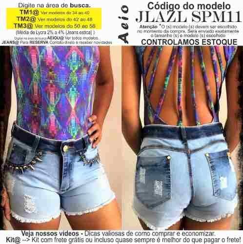 a676138732 Short Jeans Roupas Femininas Lycra Rasgo Pedras Unli  Shpm51 - R  31 ...