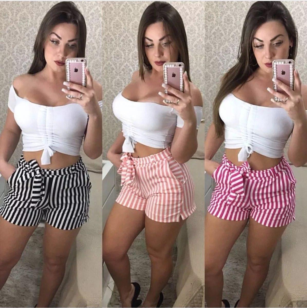 37b92a0945 short listrado cintura alta feminino moda blogueira. Carregando zoom.