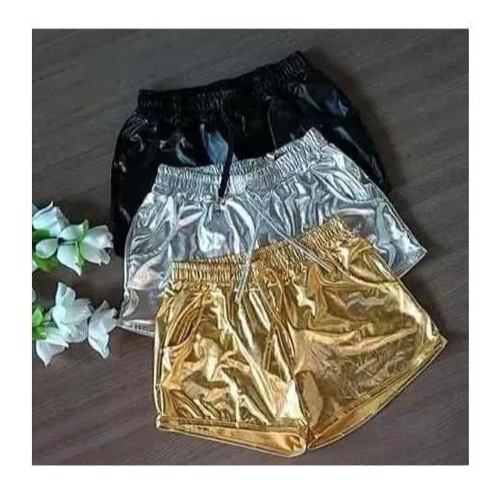 ba052ae8d Short Metalizado Prata Dourado Cirre Brilho Cordão Hot Pants - R$ 25 ...