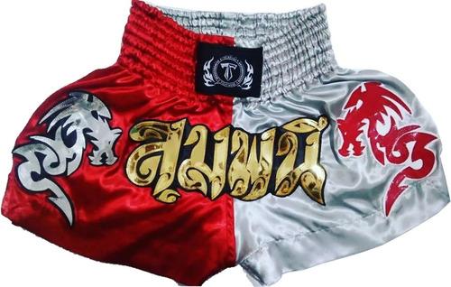 short muay thai t. f. wear vermelho/prata