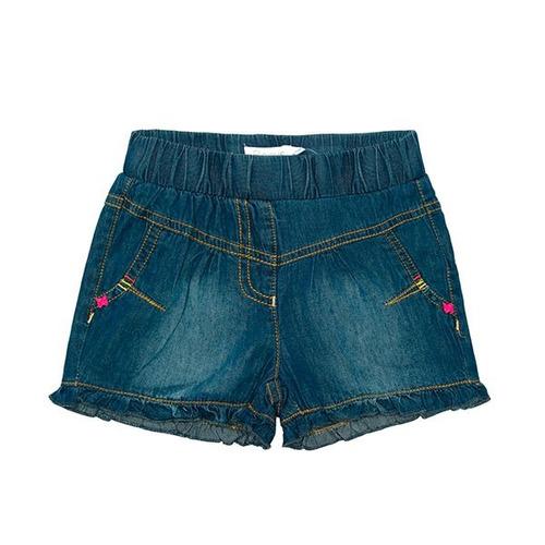short niña jeans color flora jeans azul. ficcus
