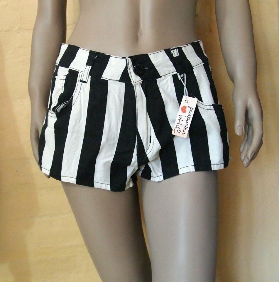 Corto Pantalon Rayado Sexy Tiro Jean Alto Rayas Mujer Short srdBQxCth