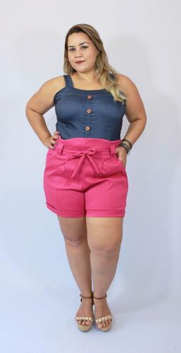 short plus size clochard em bengaline rosa verde preto pink