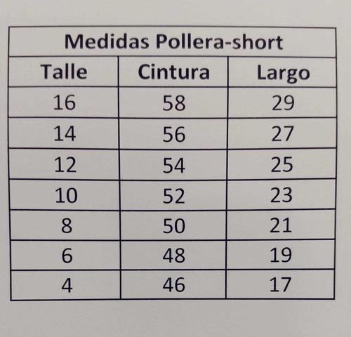 short pollera nenas algodón  y lycra talles del 4 al 16