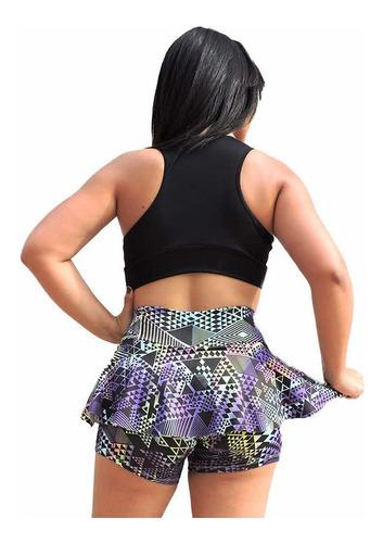 short saia fitness liz tecido bolha | frete grátis