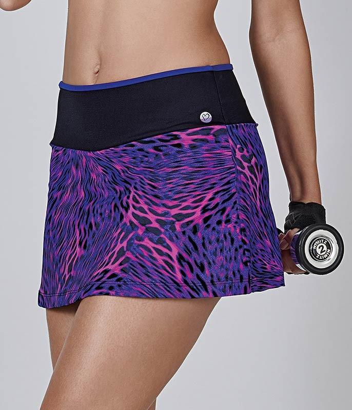 e26f5372e Carregando zoom... short saia oncinha roxa fitness demillus