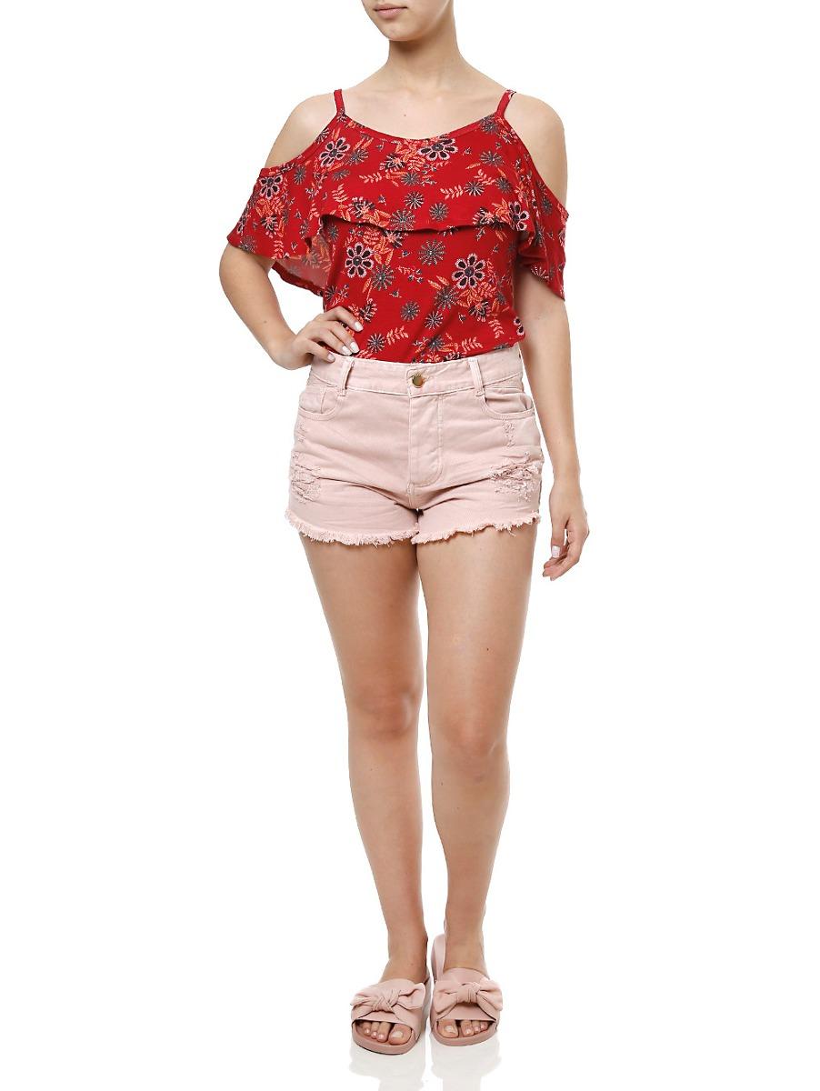 508b008ec Short Sarja Feminino Sawary Rosa - R$ 69,00 em Mercado Livre