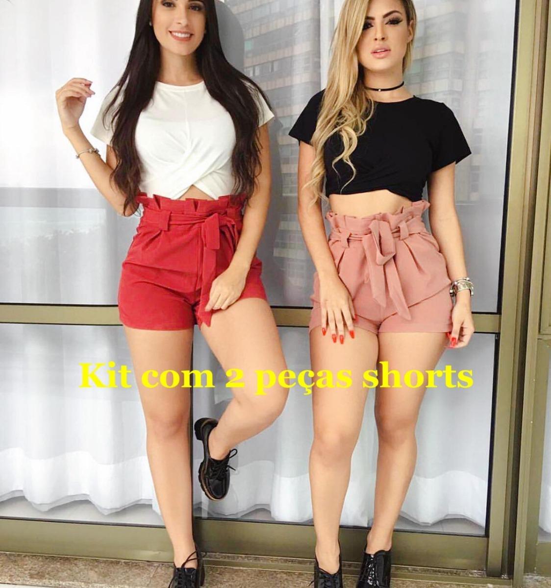 7bfe1d93b Short Shortinho Femininas Kit C2 Cintura Alta Laço Bengaline - R$ 70 ...