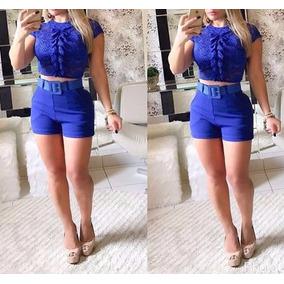e6cb6c7916 Modelos De Blusas De Cetim - Shorts para Feminino Azul no Mercado Livre  Brasil