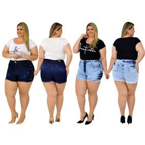 50f1b8b53 Shorts Jeans Plus Size Com Lycra - Shorts Jeans para Feminino no ...