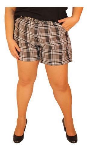 shorts alfaiataria xadrez preto plus size 48 ao 54 plus size