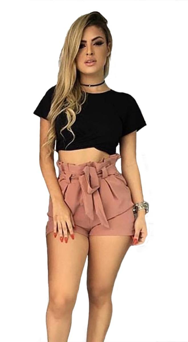 13871fa85 Shorts Bengaline Cintura Alta Shortinho Laço Social Feminina - R  37 ...