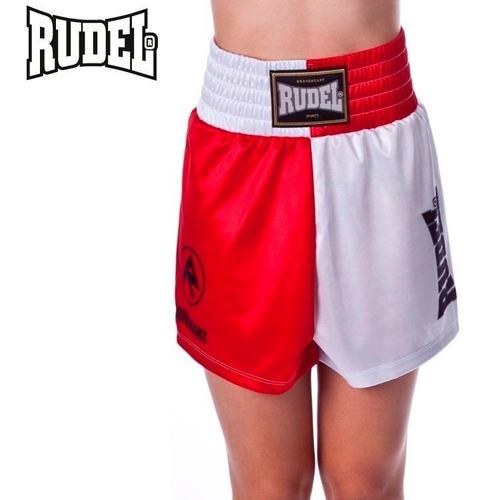 shorts boxe olimpic rudel feminino vermelho branco treino