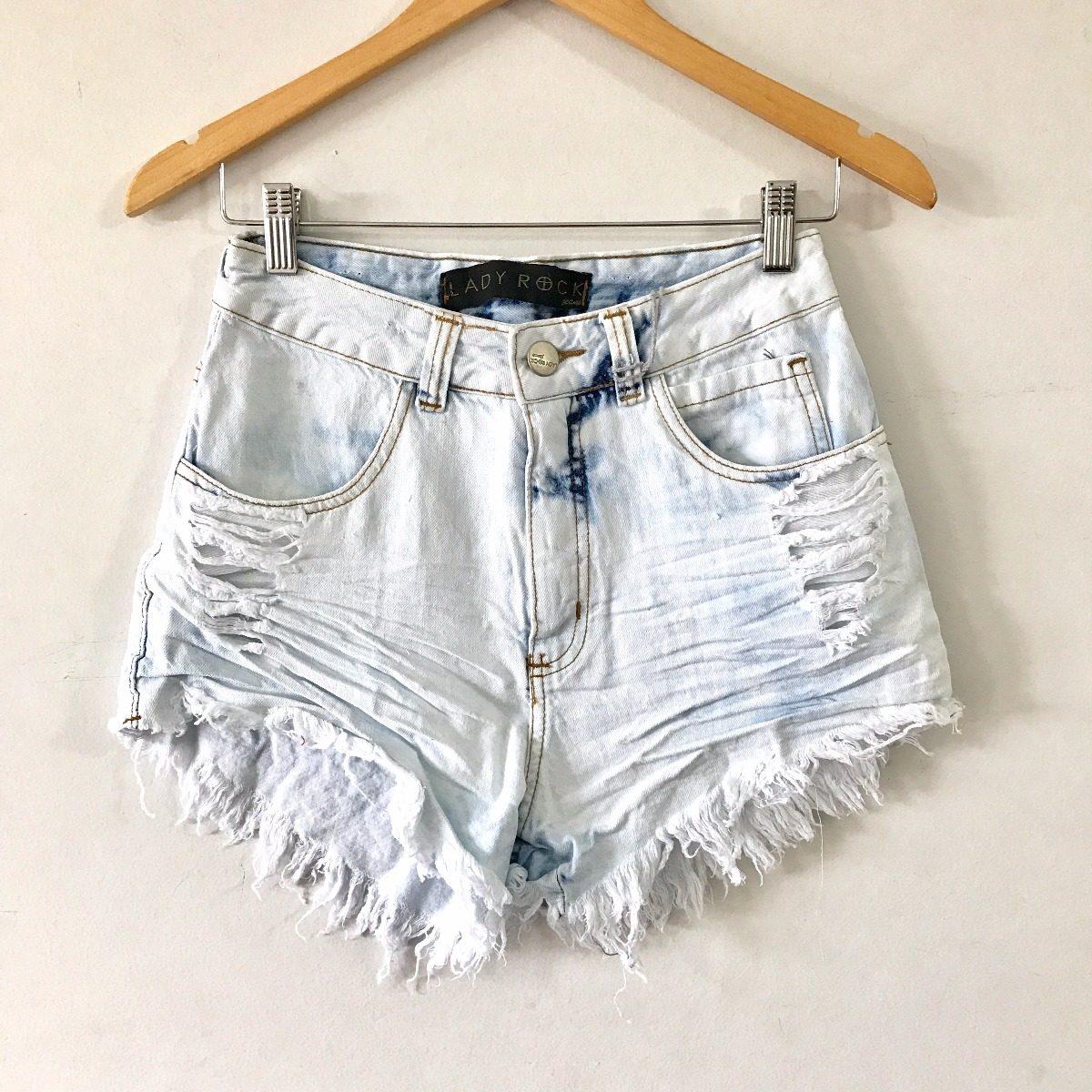 267a88d2d shorts cintura alta hot pants jeans claro desfiado lady rock. Carregando  zoom.