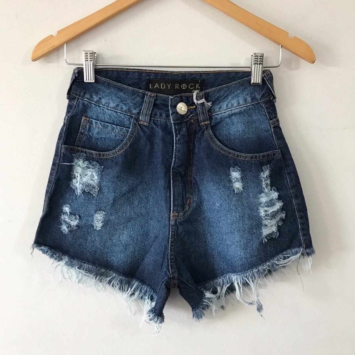 d1bd2bd03 shorts cintura alta hot pants jeans desfiado lady rock. Carregando zoom.