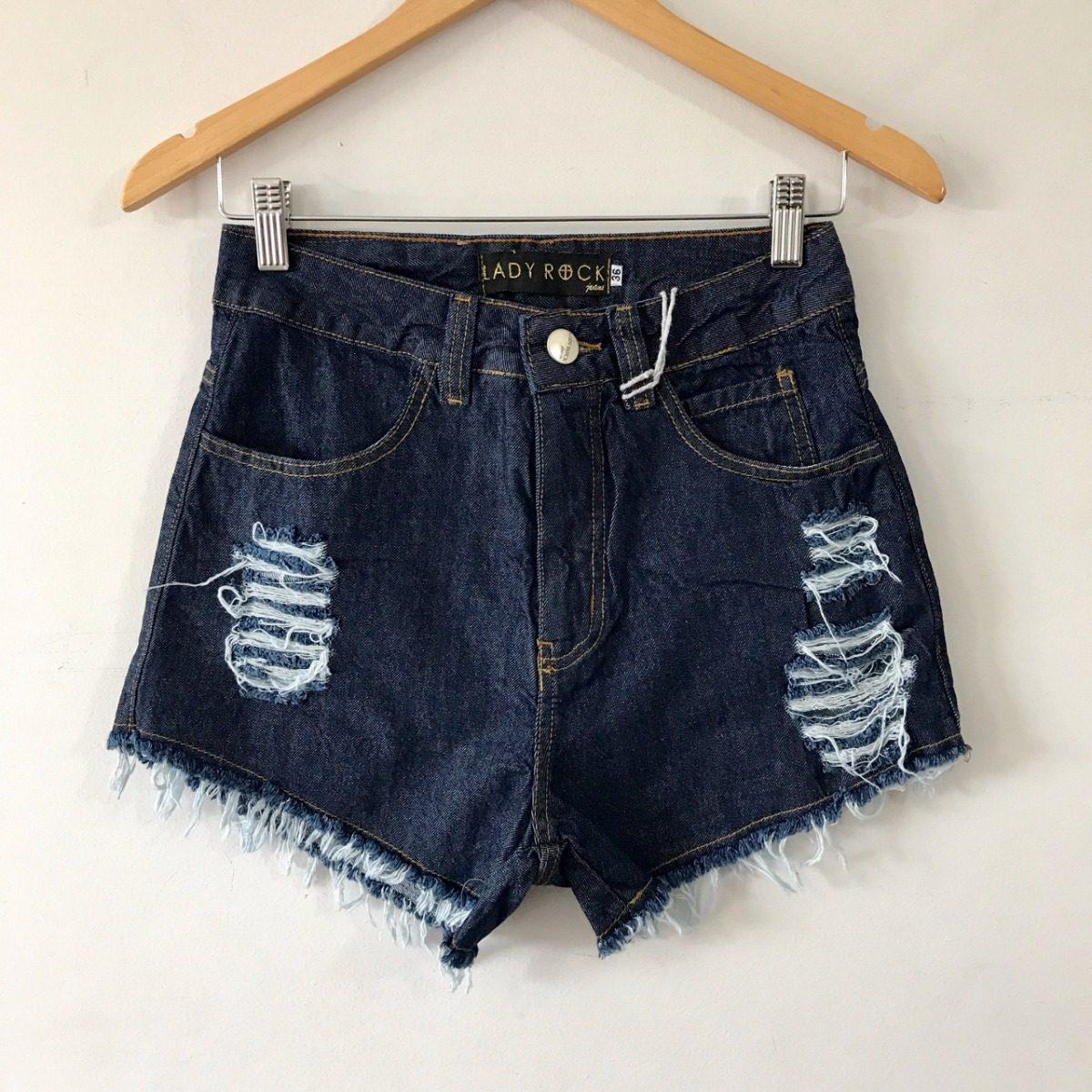 d64fa9165 shorts cintura alta hot pants jeans escuro lady rock. Carregando zoom.