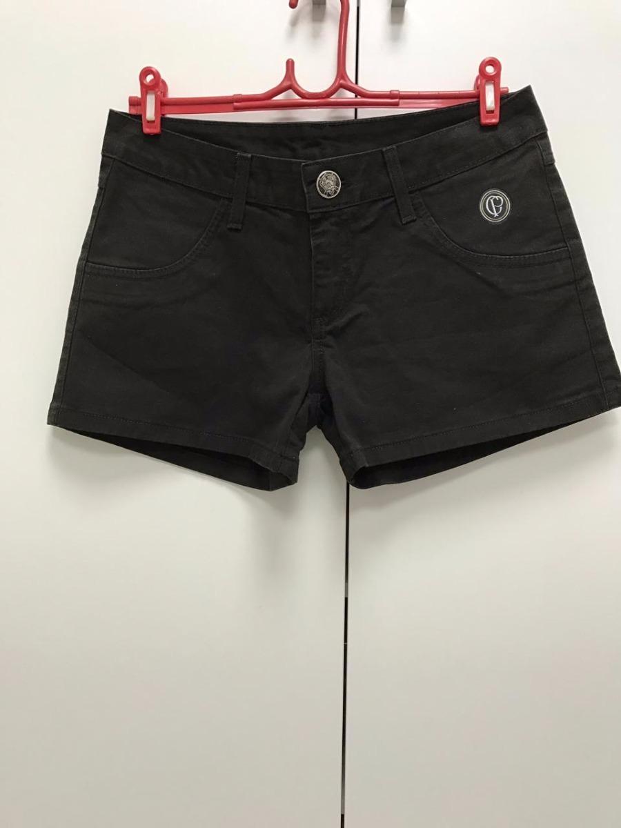 shorts do corinthians feminino jeans preto. Carregando zoom. 350f8f295940d