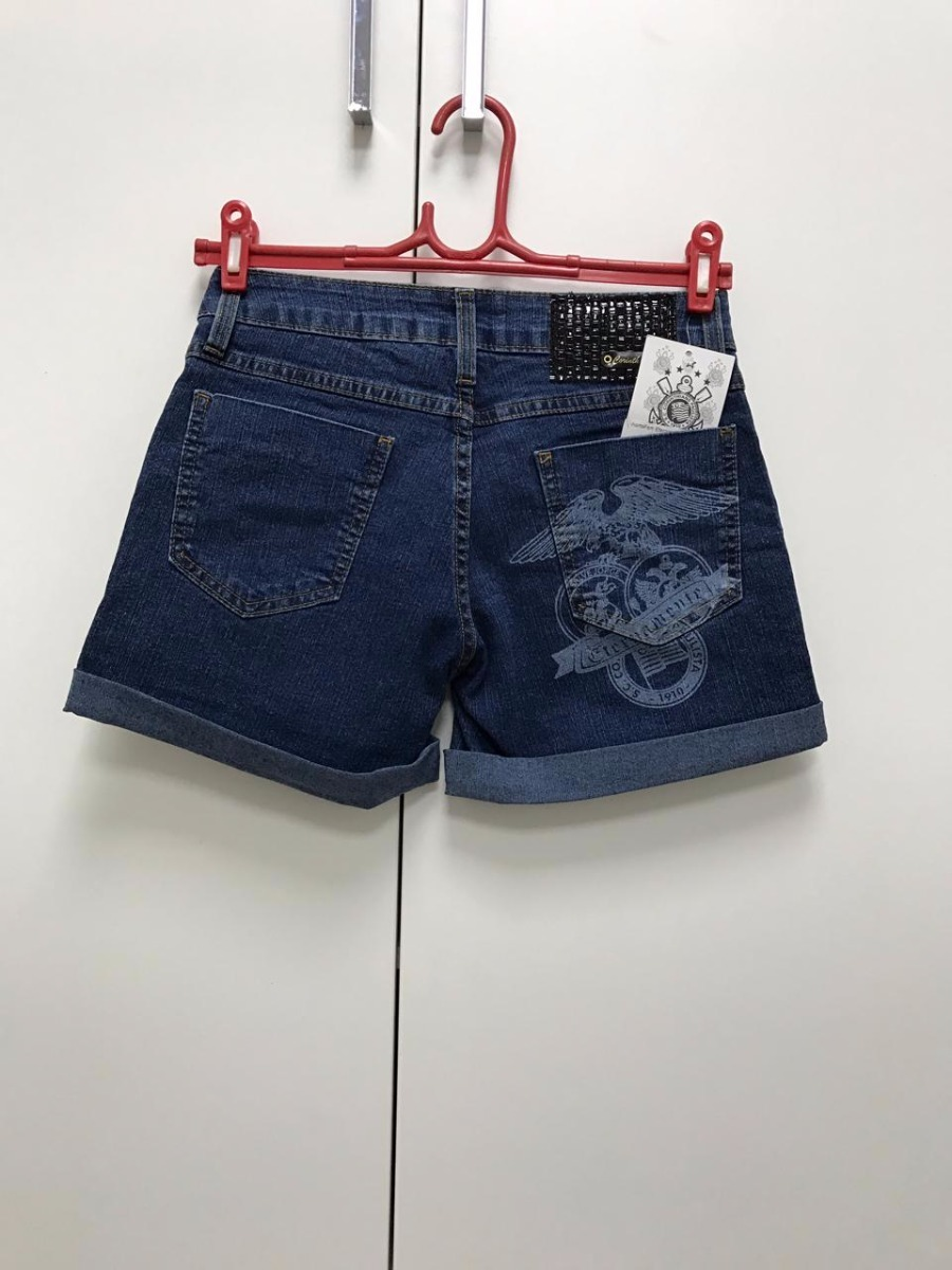 shorts do corinthians feminino jeans tm 38. Carregando zoom. c8c7b999fd801