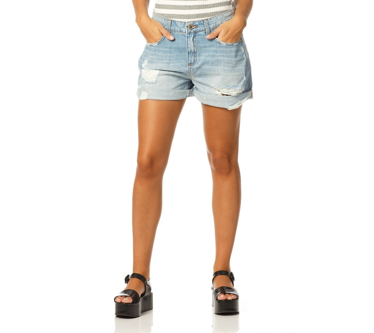 e64d3d863 shorts feminino boyfriend jeans claro denim zero - dz6160. Carregando zoom.