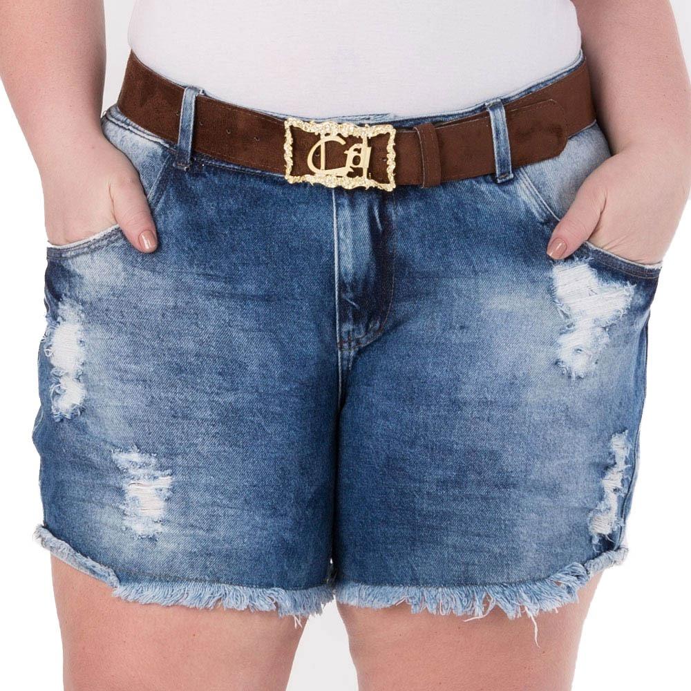 7212636fc2 Shorts Feminino Jeans Estonado - Plus Size - Shj177 - R$ 114,90 em ...