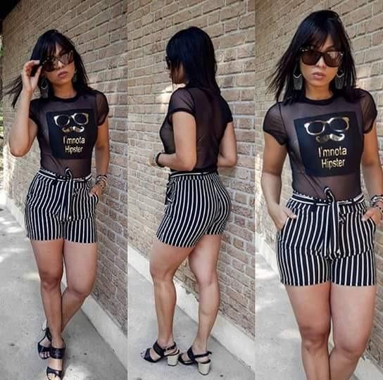 24640c746 Shorts Feminino Listrado Lançamento Moda Instagram 2018 - R  36